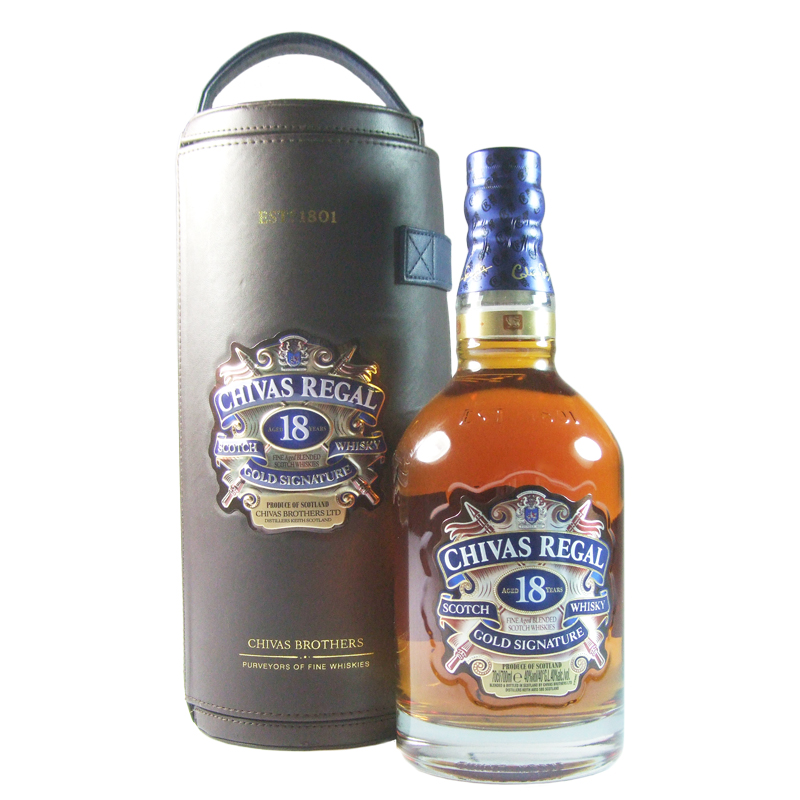 chivas regal 18 year old gold signature with leatherette canister. Black Bedroom Furniture Sets. Home Design Ideas